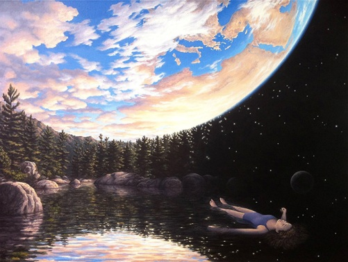 The phenomenal swimming. Canadian painter of magic realism Rob Gonsalves