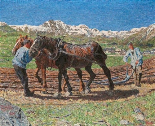 The ploughmen, 1934. Painting by Italian artist Giovanni Segantini