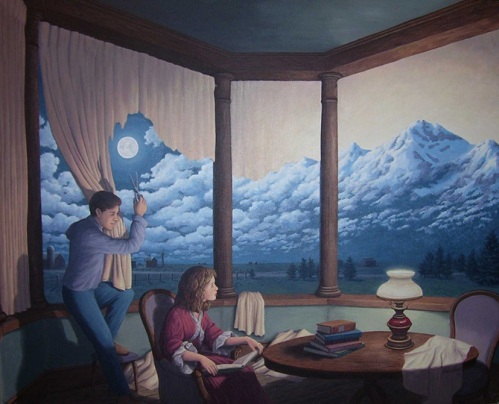 To create mountains. Canadian painter of magic realism Rob Gonsalves