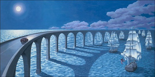 To the horizon. Painting by Canadian artist Rob Gonsalves