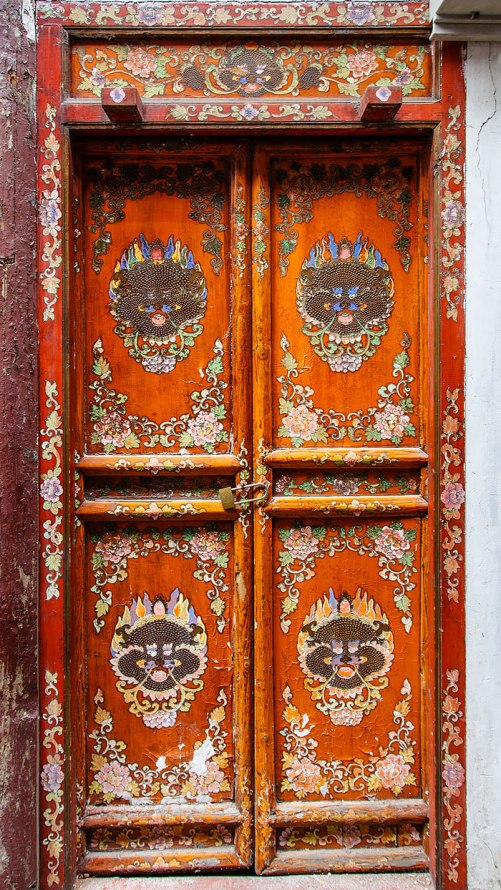 Traditionally painted doors in the district of Qingpu in Shanghai, China