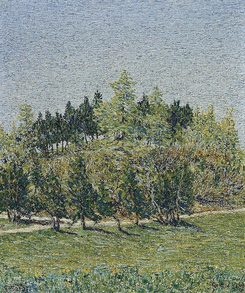 Trees in spring 1920. Painting by Italian artist Giovanni Segantini