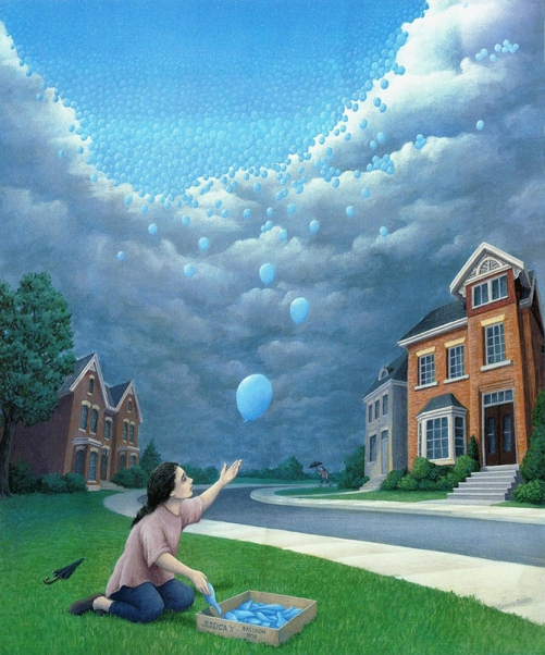 Up in the sky. Painting by Canadian artist Rob Gonsalves