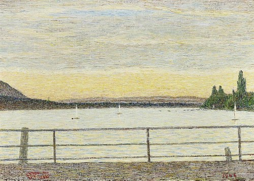 View over lake Zurich. 1946. Painting by Italian artist Giovanni Segantini