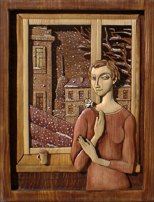 WINDOW (first snow). Decorative art by Ukrainian artist Anatoly Obelets