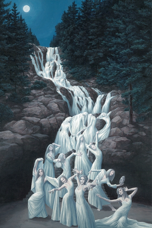 Waterfall dancer . Painting by Canadian artist Rob Gonsalves