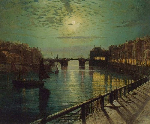 Whitby Harbor by Moonlight. Painting by John Atkinson Grimshaw