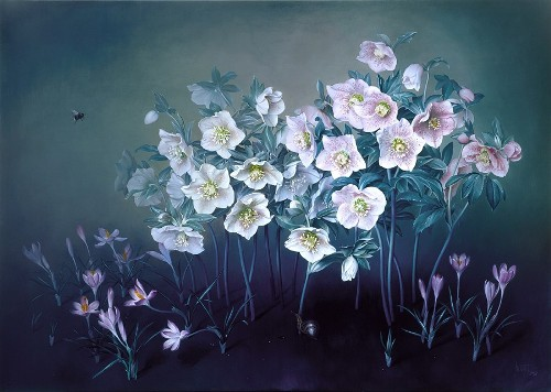White Christmas Rose, oil on canvas, 2002. Still life painting by Jose Escofet