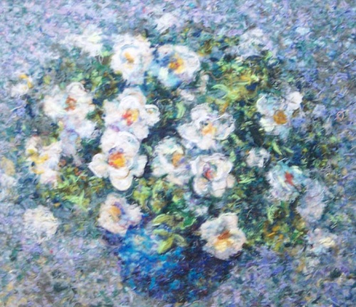 White roses. Wool painting by Russian artist Lyubov Khitkova