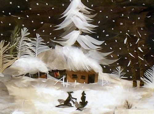 Winter night. Feather painting by self-taught artist of applied art Marina Nesterova