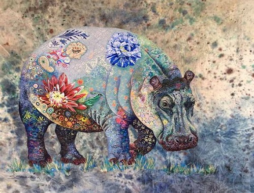 Africa. Textile embroidery by British fine artist Sophie Standing