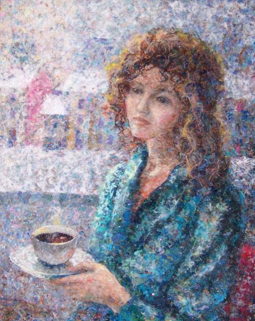 Coffee taste. Wool painting by Lyubov Khitkova