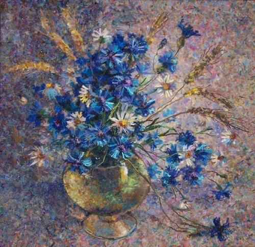 Cornflower summer. Wool painting by Lyubov Khitkova