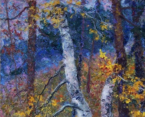 Forest stream fragment. Wool painting by Lyubov Khitkova