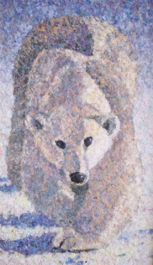 Polar Bear. Wool painting by Russian artist Lyubov Khitkova