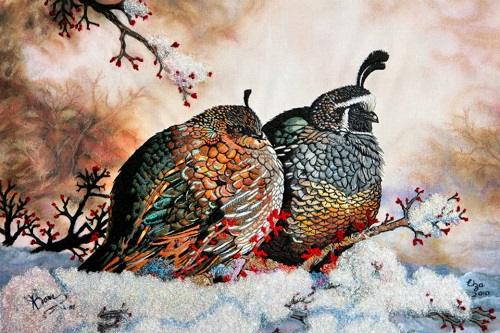 Quails. Realistic embroidery by Elza