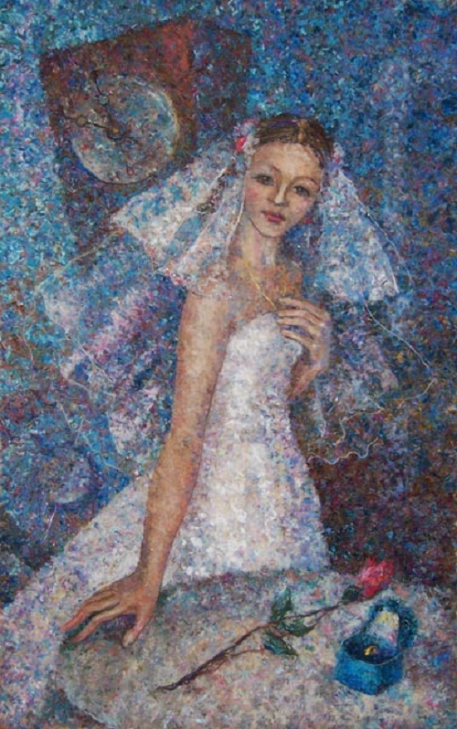 Ready for wedding. Wool painting by Russian artist Lyubov Khitkova