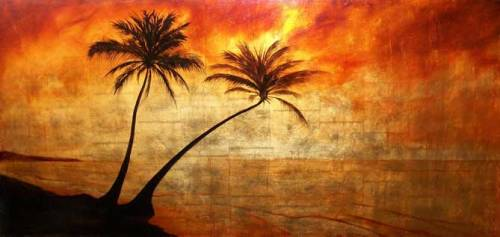 Two palms. Oil on Gold Leaf on Canvas. Painting by Gabriel Burchman