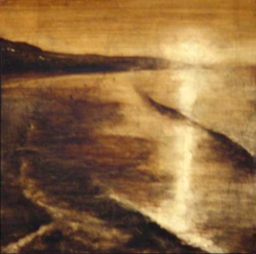 View from bird rock. Oil on Gold Leaf on Canvas. Painting by Gabriel Burchman
