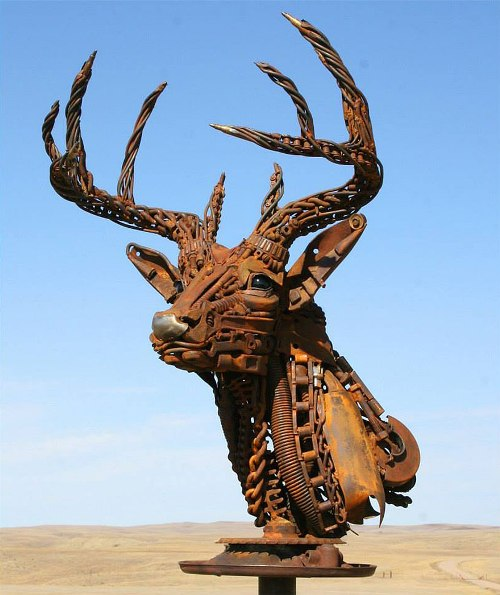 Welded scrap metal sculpture by John Lopez