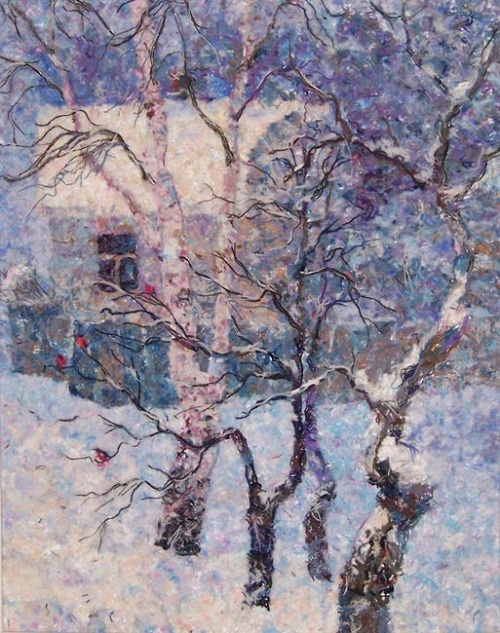 Winter. Wool painting by Russian artist Lyubov Khitkova
