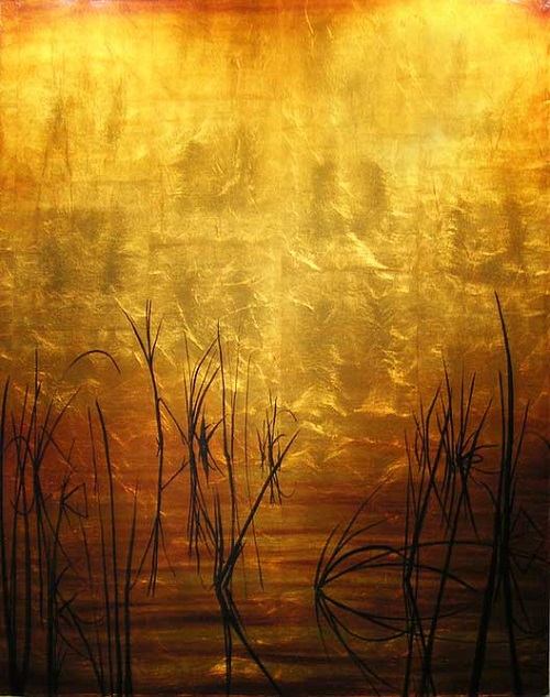 Zen meditation. Oil on Gold Leaf on Canvas. Painting by Gabriel Burchman