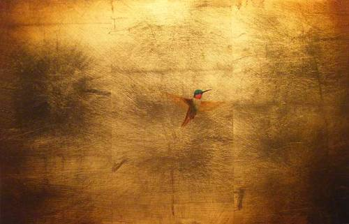 Zen. Oil on Gold Leaf on Canvas. Painting by Gabriel Burchman
