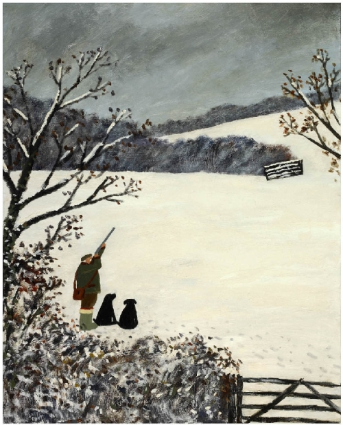 8 Black Paws. Naive Painting by contemporary British artist Gary Bunt