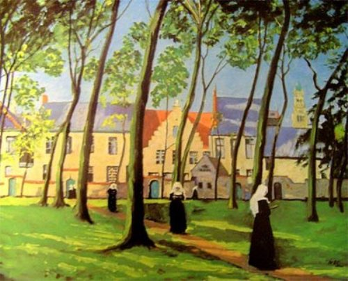 A Convent. Painting by British artist Sir Winston Churchill