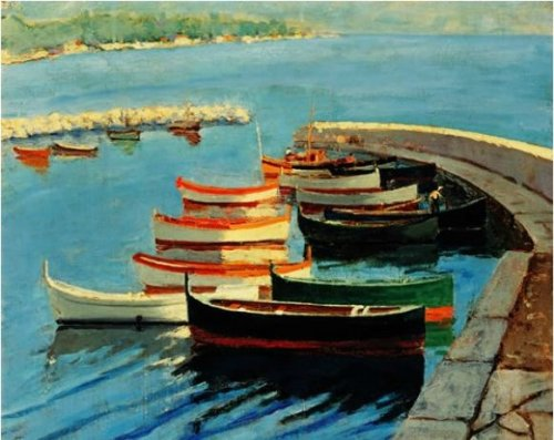 A Study of Boats 1933. Painting by Sir Winston Churchill