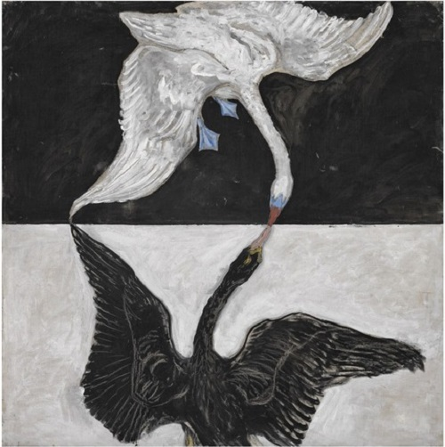 Swans. Abstract painting by Swedish artist Hilma af Klint