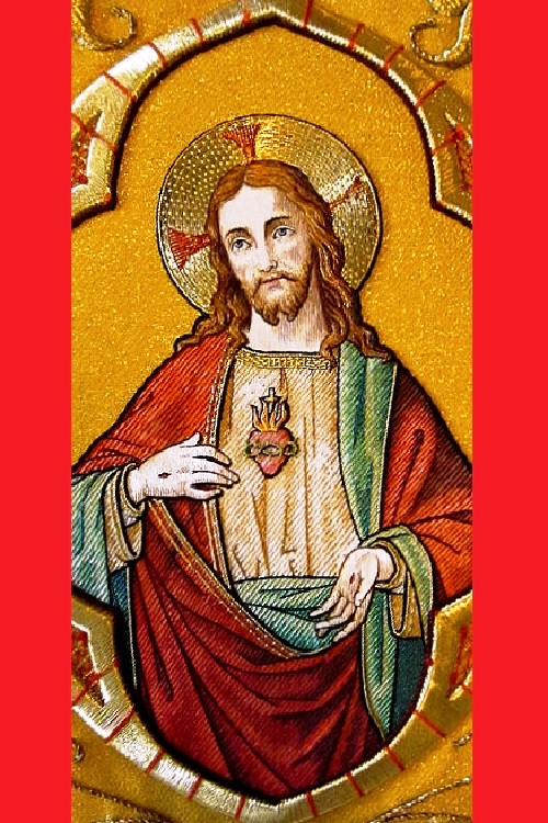 An embroidery of the Sacred Heart of Jesus in Saint Nicholas' Church, Ghent, Belgium
