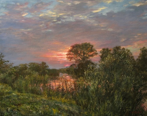 At the sunset. Painting by Russian artist Yuri Pantsyrev