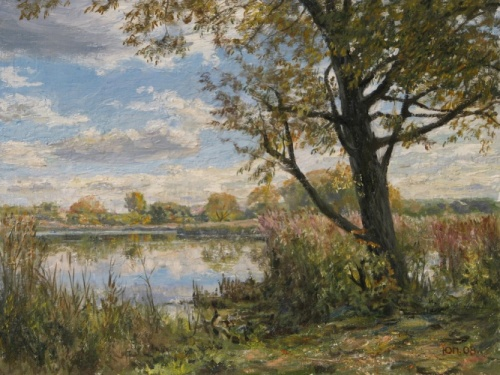 Autumn day. 2008. Painting by Russian artist Yuri Pantsyrev
