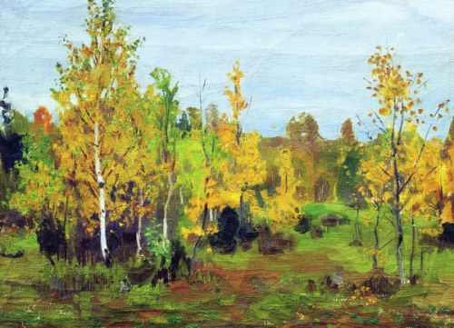 Autumn landscape. Russian painter Arkady Rylov