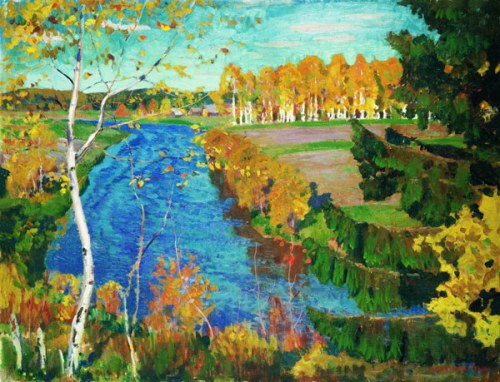 Autumn on the river Tosna. 1920. Russian painter Arkady Rylov