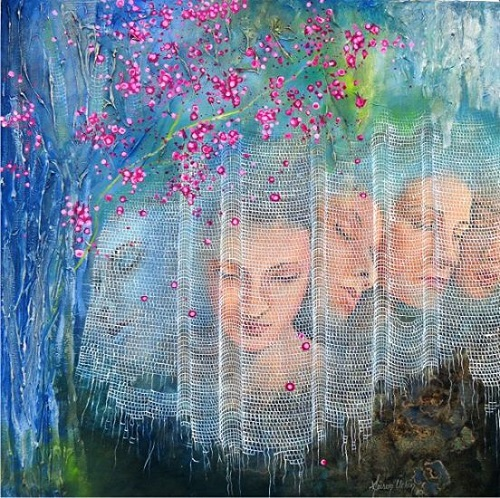Behind the lace curtain. Painting by Fusun Urkun Sanatevi