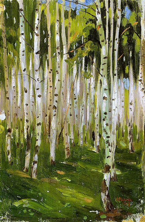 Birch forest. Russian painter Arkady Rylov