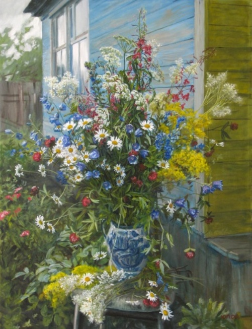 Bouquet of flowering herbs, 2009. Painting by Russian artist Yuri Pantsyrev