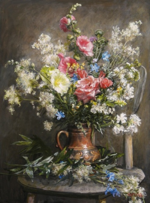 Bouquet with roses and hollyhocks, 2008. Painting by Yuri Pantsyrev