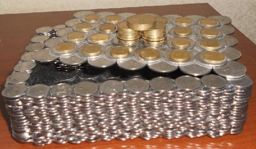 Coin art - Box made of coins