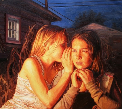 By Fire Light. 2011. oil on canvas. Hyperrealistic painting by American artist Laura Sanders
