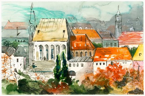 Cesky Krumlov. Watercolor painting by Russian artist Marianna Fedorova (Murzilkina)