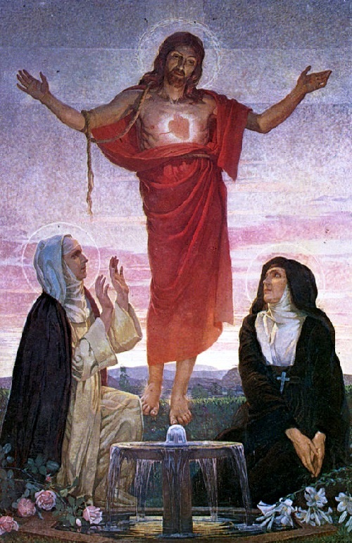 Christ reveals Margaret Mary Alacoque (right) and Maria Droste zu of Vischering his heart