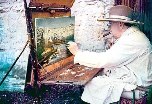 Sir Winston Churchill painting