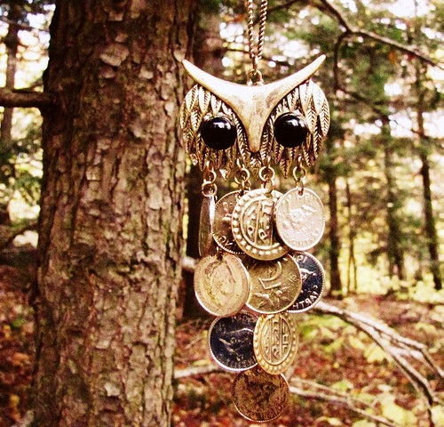 "Coin art - necklace of coins ""Owl"""