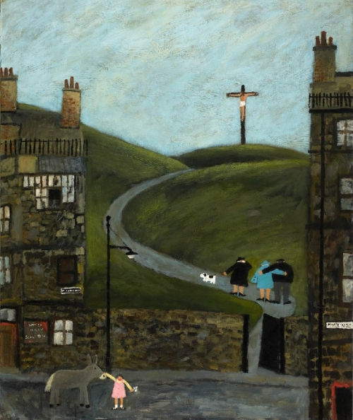 Crucifixion near McAslin Street. Naive Painting by contemporary British artist Gary Bunt