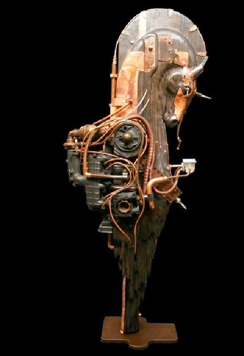 Cyber-love. Steampunk Sculpture by French artist Pierre Matter