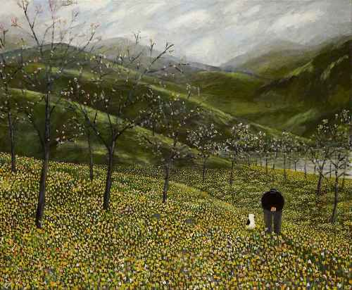 Daffodils. Naive Painting by contemporary British artist Gary Bunt