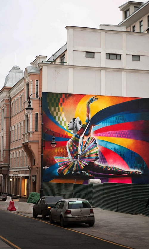 Eduardo Kobra in Moscow, mural of the Russian ballerina Maya Plisetskaya